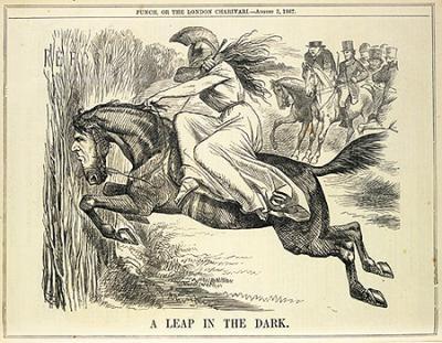 """""""Der Sprung ins Dunkle"""" - Karikatur von 1867"""