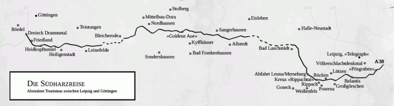 A38 Streckenkarte - Frank Fischers Südharzreise