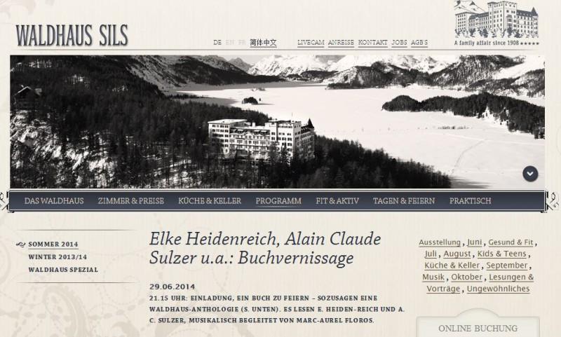 Buchvernissage - Screenshot © Waldhaus Sils