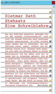 Dietmar Dath: Stehsatz